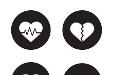 Heart shapes icons. Vector