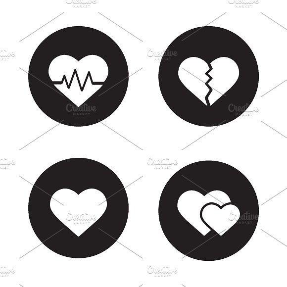 Heart shapes icons. Vector - Icons