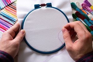 man embroider