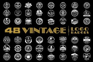 48 Vintage Logo Badges