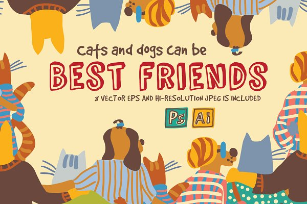 Cats and dogs friendship vector set