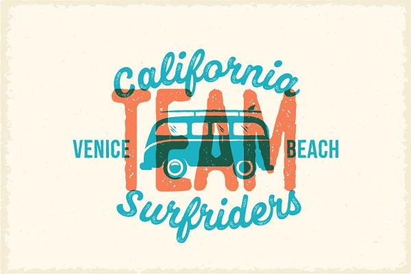 Vintage Style Surfing Label/Print