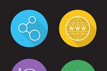 Wifi flat linear icons set. Vector