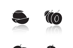 Sliced fruits icons. Vector