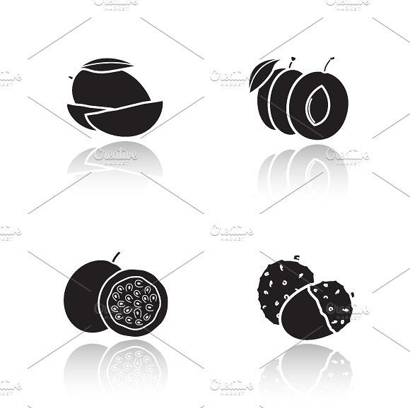 Sliced fruits icons. Vector - Icons