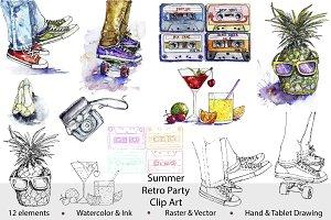 Summer Retro Party Clip Art