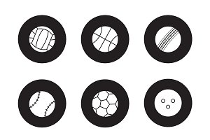 Sport balls black icons set. Vector