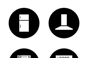 Household appliances icons. Vector