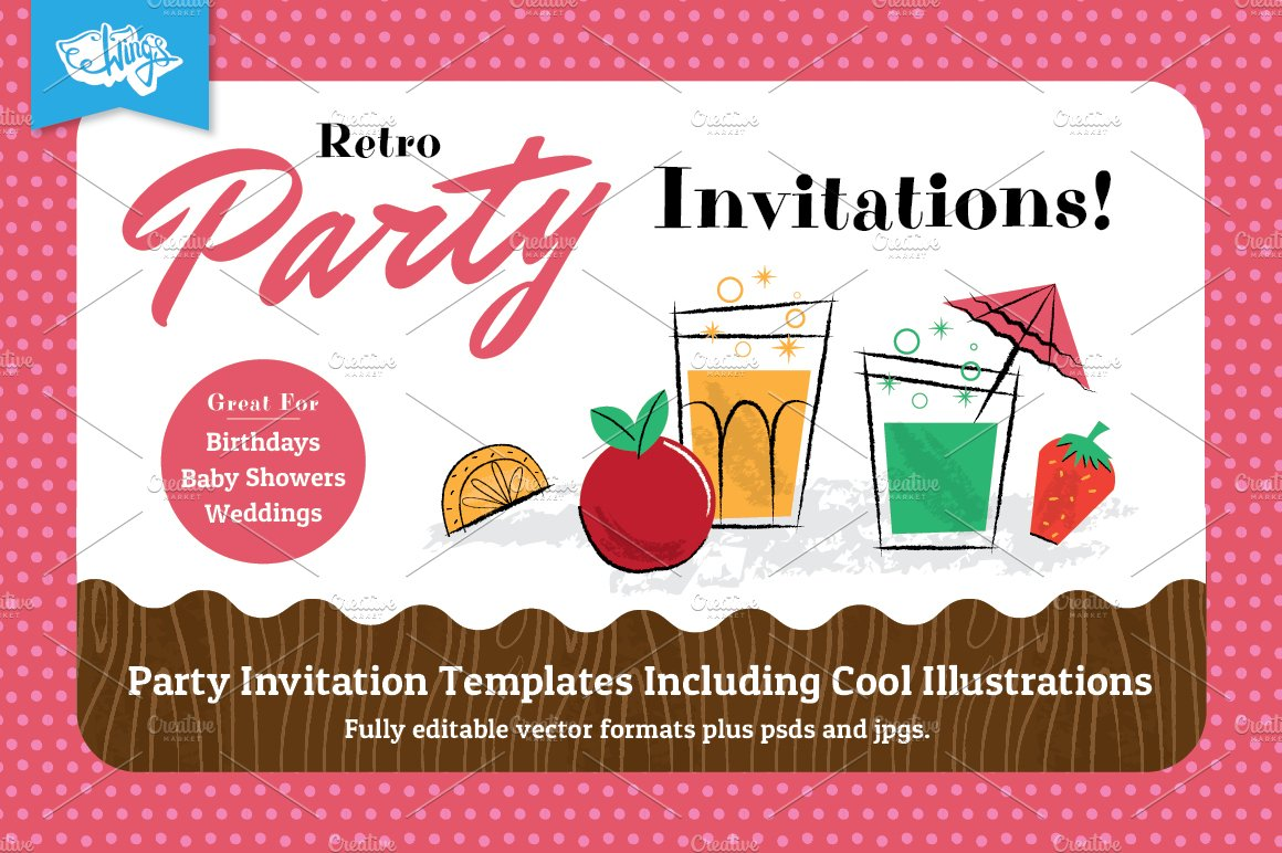 Retro Children\'s Party Invitations ~ Invitation Templates ~ Creative ...