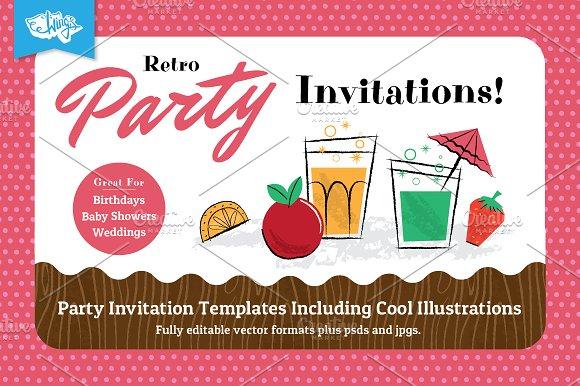 retro children s party invitations invitation templates creative
