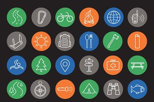Camping and travel icons. Vector