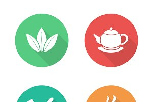 Tea flat design icons set. Vector