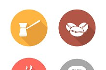 Coffee flat design icons set. Vector