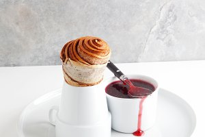 cinnamon roll and raspberry jam.