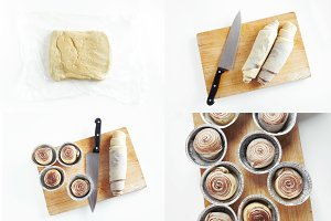 gradual preparation of sweet buns.