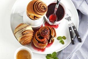 Classic breakfast of sweet rolls