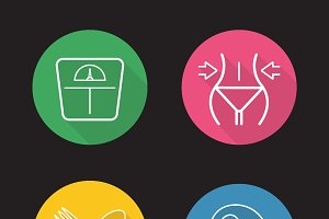 Women fitness icons. Vector