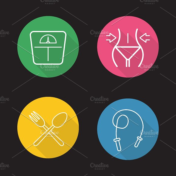 Women fitness icons. Vector - Icons