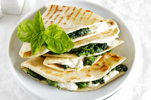 piadina with spinach and mozzarella.