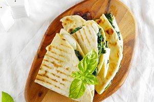 Piadina. Italian healthy snack.