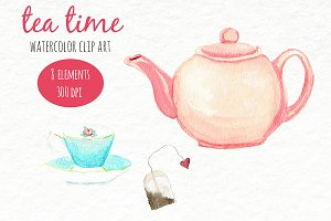 Watercolor Clip Art - Tea Time