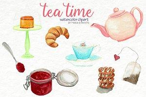 Tea Time Watercolor Clipart Set