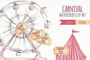 Watercolor Clip Art - Carnival