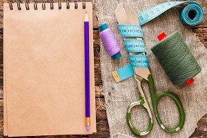 thread, scissors, measuring tape
