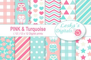 Pink and Turquoise Owl Digital Paper