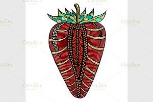 Strawberry hand drawn pattern