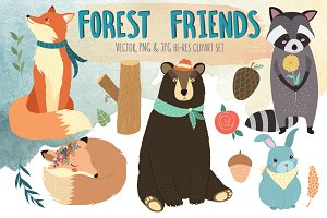 Forest Friends Vector Clipart Bundle