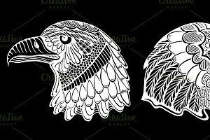Hand Drawn heads of eagle.