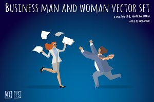Business man and woman vector set