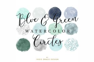 Blue & Green Watercolor Circles