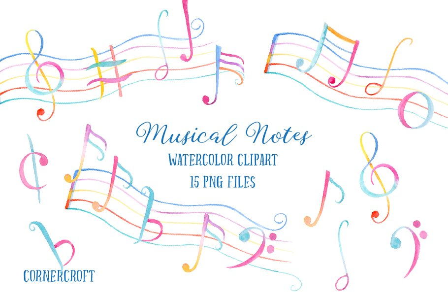 Watercolor Clipart Muscial Notes