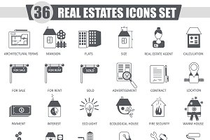 36 Real estates black icon set.
