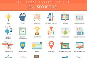 36 SEO & development flat icons set