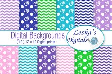 Dots and Chevron Digital Paper Pack