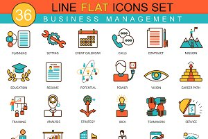 Business management flat line icons