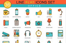 36 Office flat line icon set.