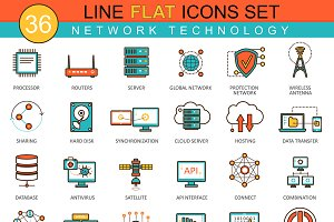 Network technology flat line icons