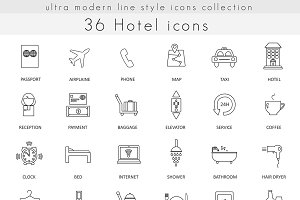 36 Hotel ultra modern line icons