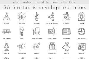 36 Startup & development line icons