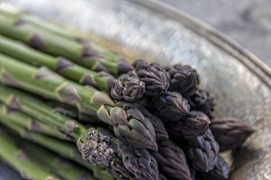Fresh Asparagus on Silver Plate