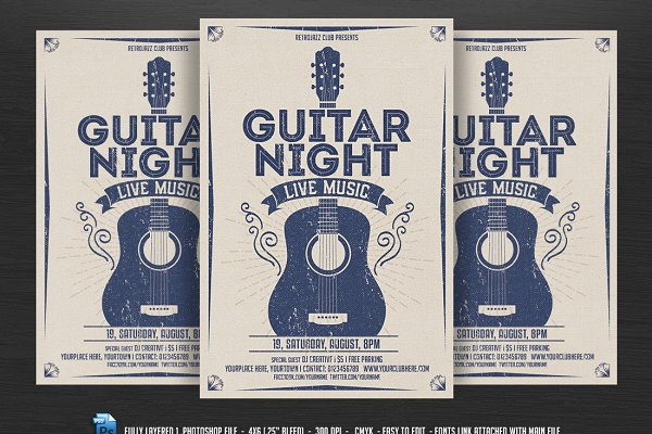 Guitar Night-Vintage Music Flyer