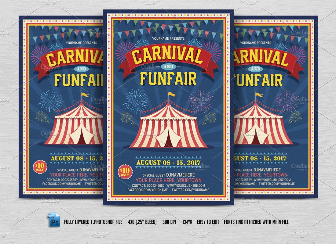 Carnival & Fun Fair Flyer ~ Flyer Templates ~ Creative Market