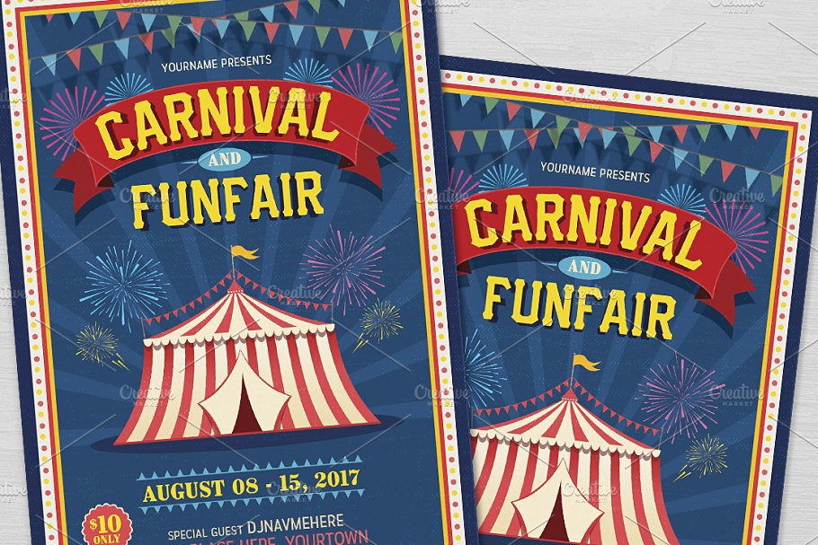 Carnival Fun Fair Flyer Flyer Templates Creative Market Pro