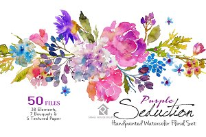 Purple Seduction- Watercolor Floral