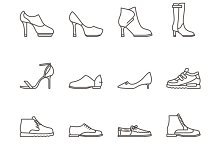 Shoes line vector icons