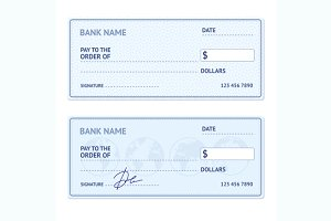 Bank Check Template Set. Vector